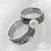 Snubní/Zásnubní prsten damasteel - Natura a perla,