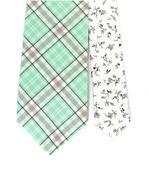 Ručně šitá Twin kravata, káro v mint + kapesníček,