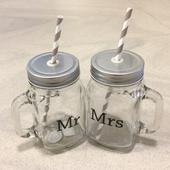 Retro smoothie pohare Mr & Mrs,