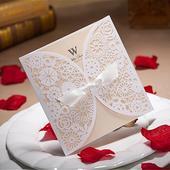 100 ks svatebních oznámení v barvě bílá/champagne,