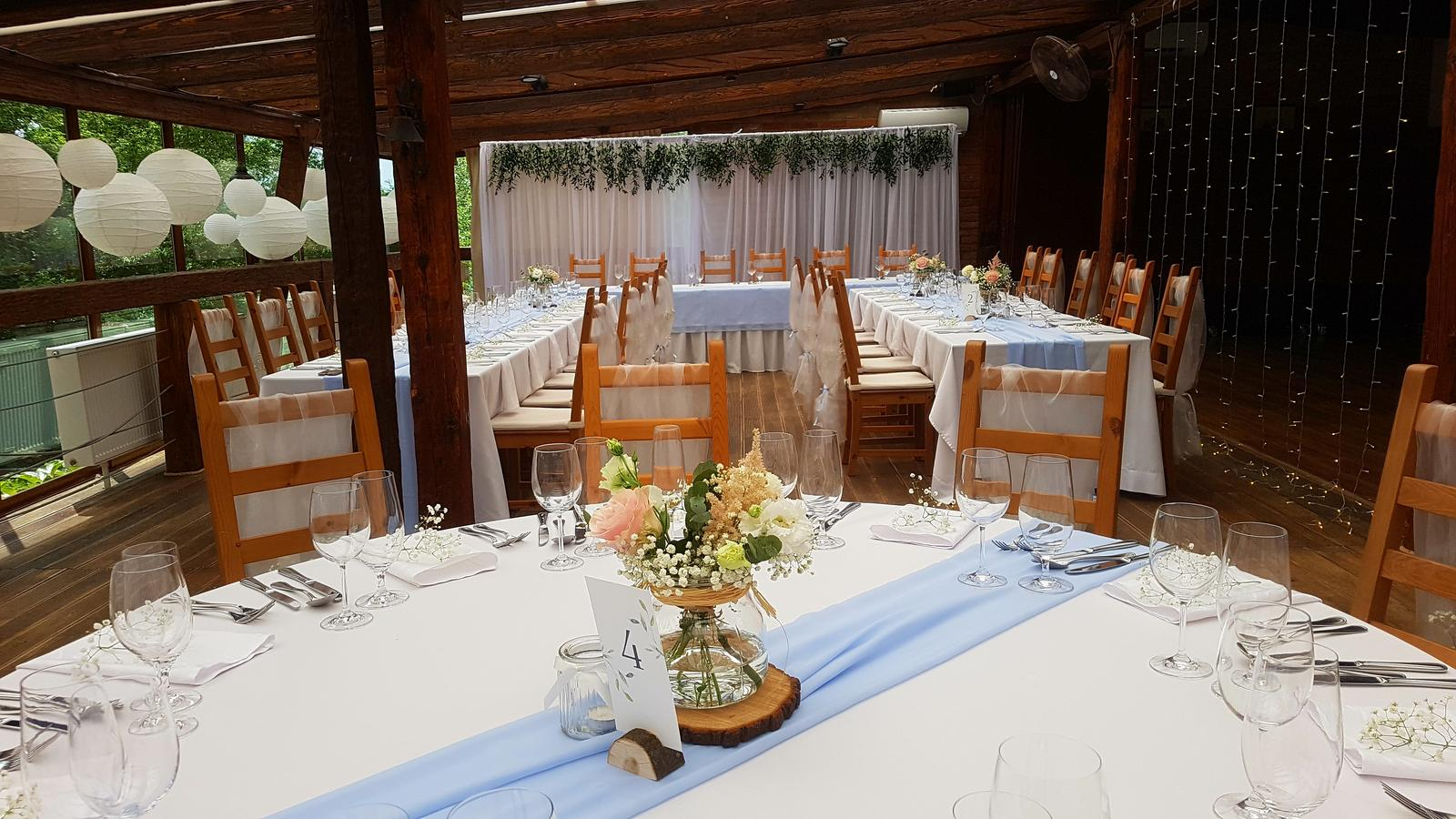 Svetelné steny za mladomanželský stôl - Svetelná stena 3x6m bez volánov. Kedže konštrukcia sú teleskopické tyče nie je najmenší problém prispôsobiť rozmery steny na požadovanú veľkosť.