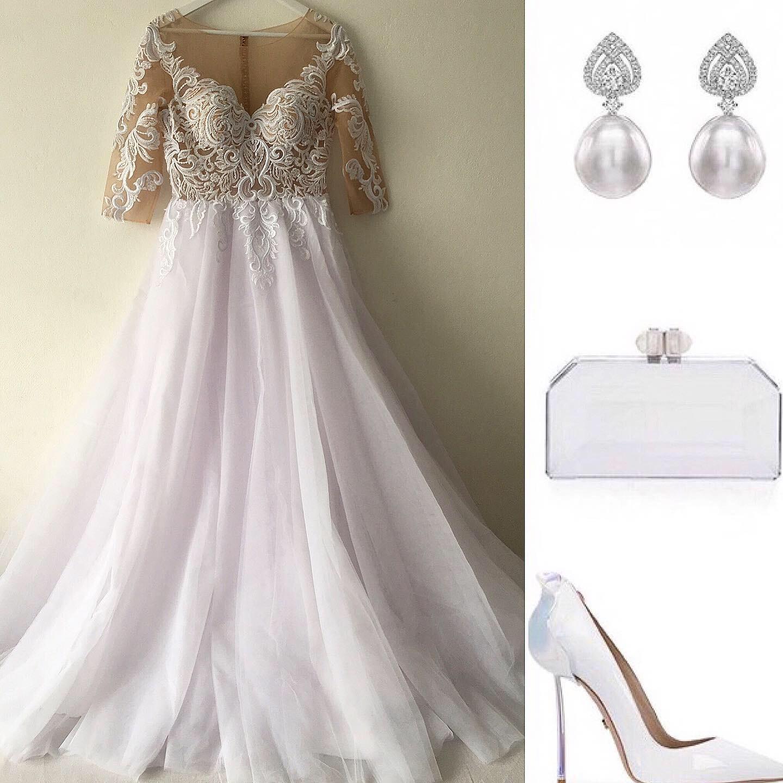 Decentný model bielych svad.siat s 3/4 rukávom - Obrázok č. 1
