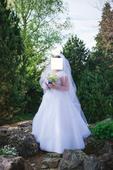 svadobné šaty s krajko na ramenách a šnurovačkou, 44
