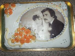 torta mojich rodičov robená mojou sestrou k 30. výročiu ich svadby
