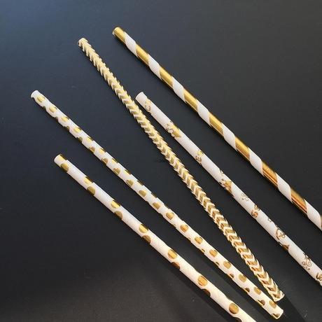 Zlato-bílá papírová brčka - Obrázek č. 1