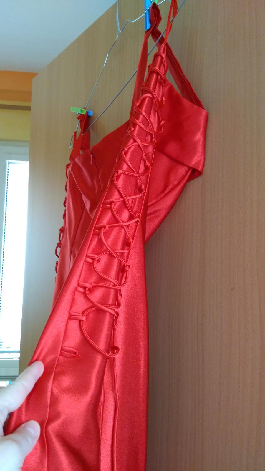 Spoločenské červené šaty veľkosť 42 - Obrázok č. 2