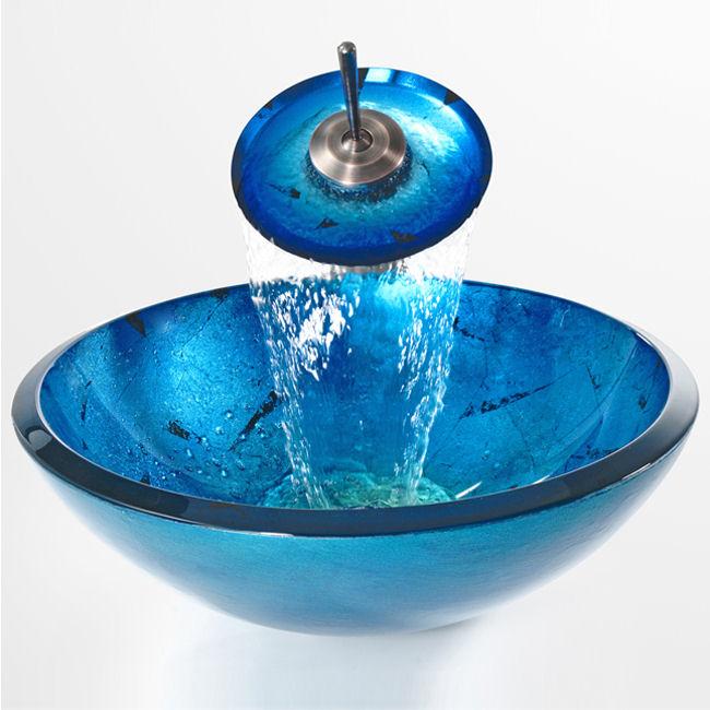 Umyvadla - Modré umyvadlo na desku, vodovodní baterie