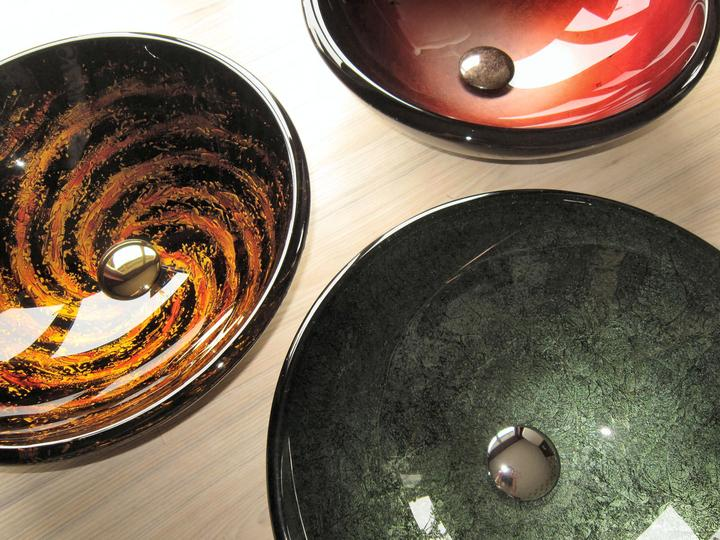 Umyvadla - Designová umyvadla ze setů Galaxy, Green Amethyst, Červené umyvadlo 19mm, různé tloušťky skla, výpusti klik klak chrom, gold a Antique Marble