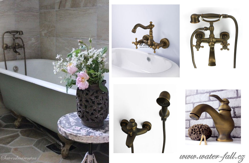 Retro koupelna - Inspirace Provence, retro koupelna a baterie v antickém bronzu