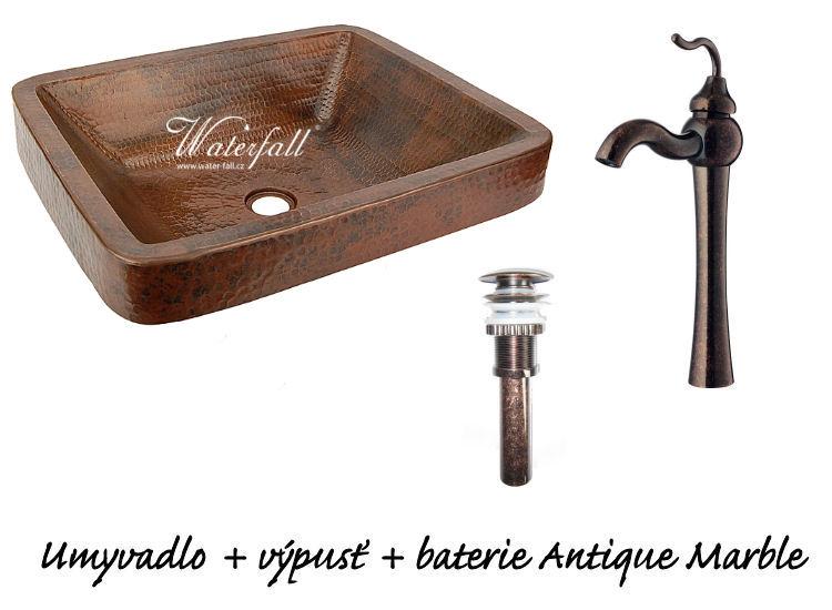 Retro koupelna - Měděné umyvadlo, baterie Antique Marble