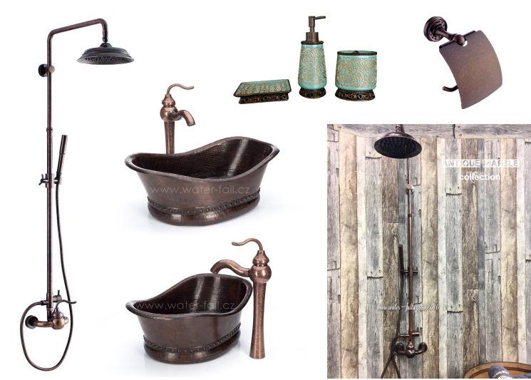 Retro koupelna - Kombinace mědi, mosazi a tyrkysových doplňků...Antique Marble série
