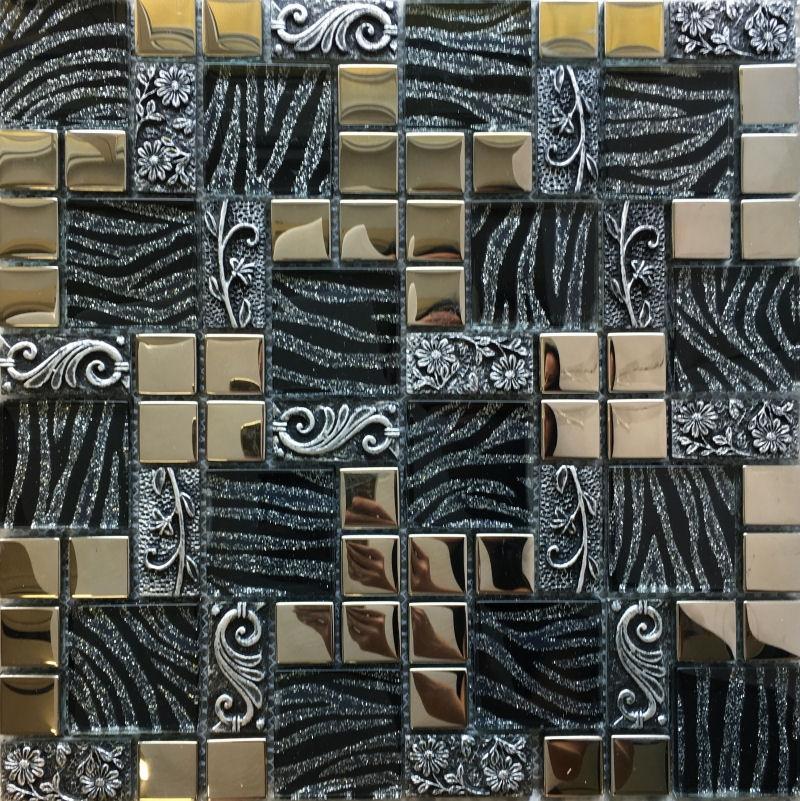 Novinky 2018 - černo stříbrná mozaika, Luxusní mozaika Black & Silver