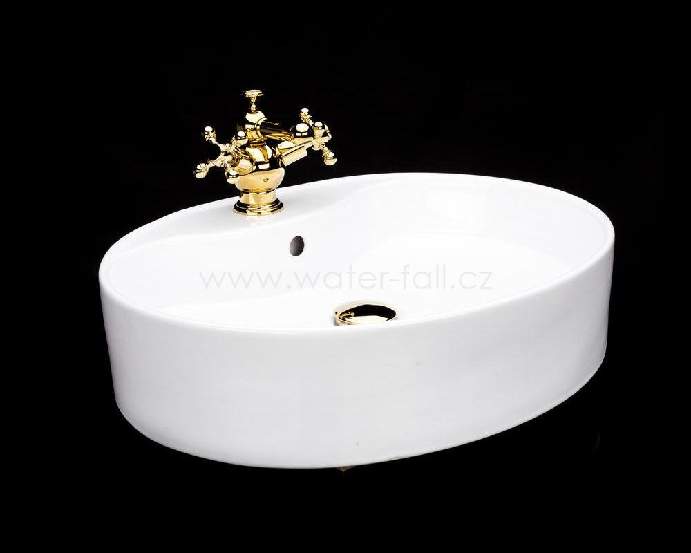 Keramické umyvadlo se zlatou baterií, set - Obrázek č. 1