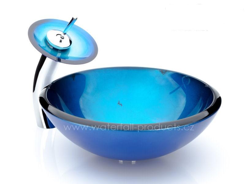 Modré skleněné umyvadlo na desku - Obrázek č. 1