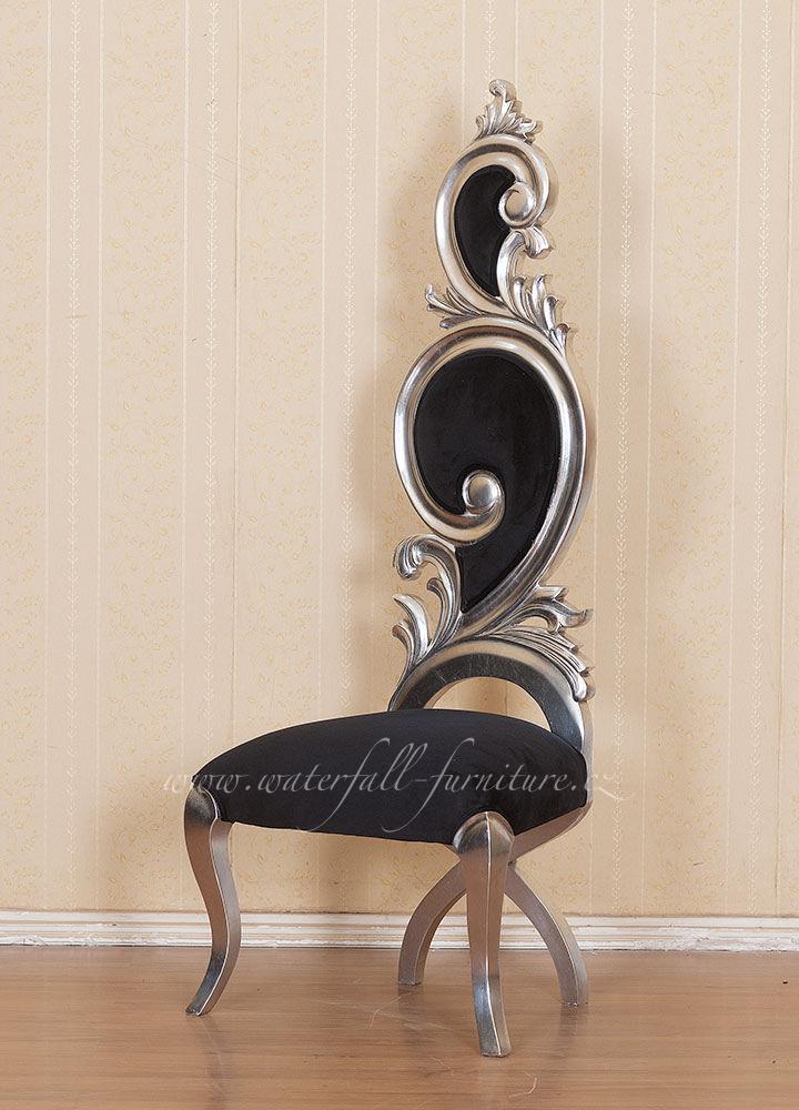 Zámecká stříbrná jídelní židle Silver Leaf - Obrázok č. 1
