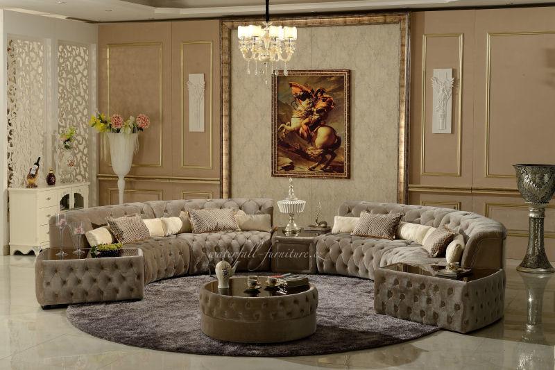 Světle šedá luxusní kulatá sedací souprava 4m - Obrázek č. 1
