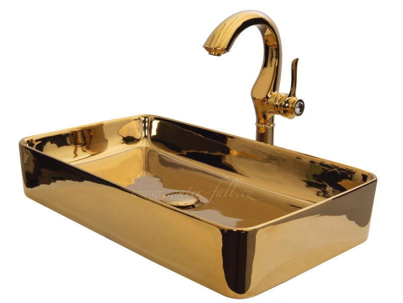 Zlaté umyvadlo s baterii Cairo Gold - Obrázek č. 1