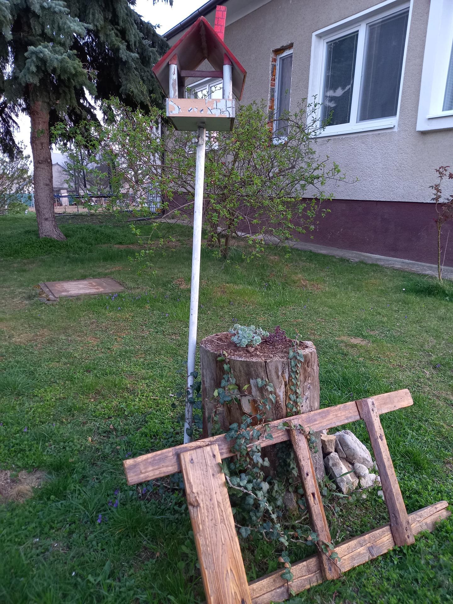 Záhrada-začíname 2020 - Starý rebrík s novou funkciou.