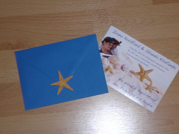 Co už máme a inspirace aneb mořská svatba - oznámení s obálkou