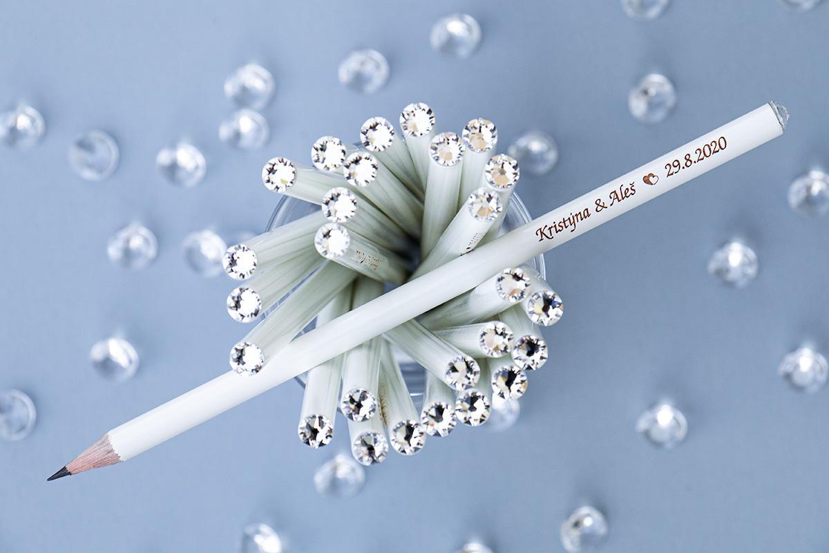 Svatební tužka s krystalem Swarovski - různé barvy - Obrázek č. 1