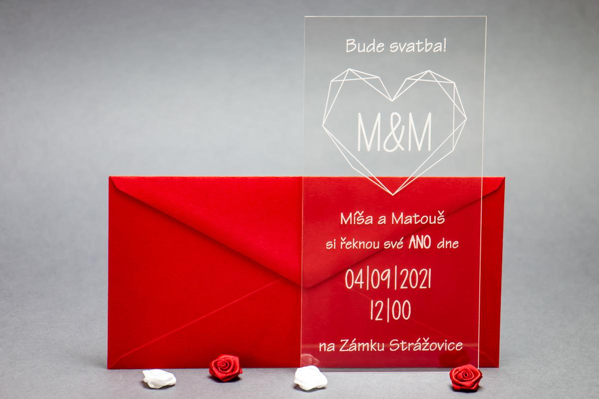Originální svatební oznámení z plexi - různé druhy - Obrázek č. 1