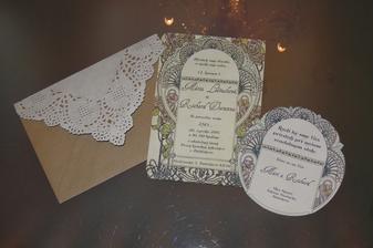 Vytlacene a orezane oznamenie s pozvankou k stolu+ obalka :-)