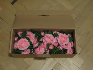 Kvetinky nachystane vo svojich flastickach v krabici :-)