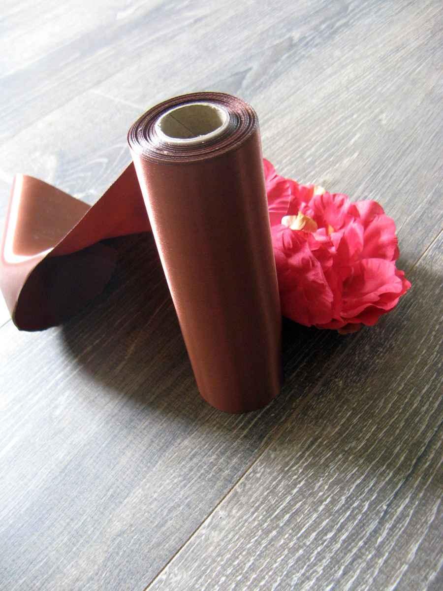 Saténová stuha hnedá 16cmx9m - Obrázok č. 1