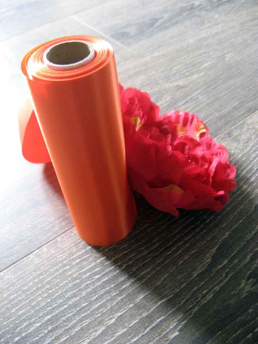 Saténová stuha oranžová 16cmx9m - Obrázok č. 1