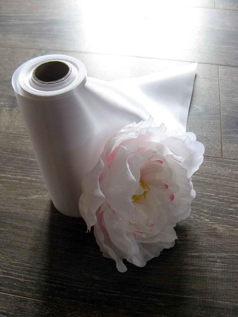 Saténová stuha biela 16cmx9m - Obrázok č. 1