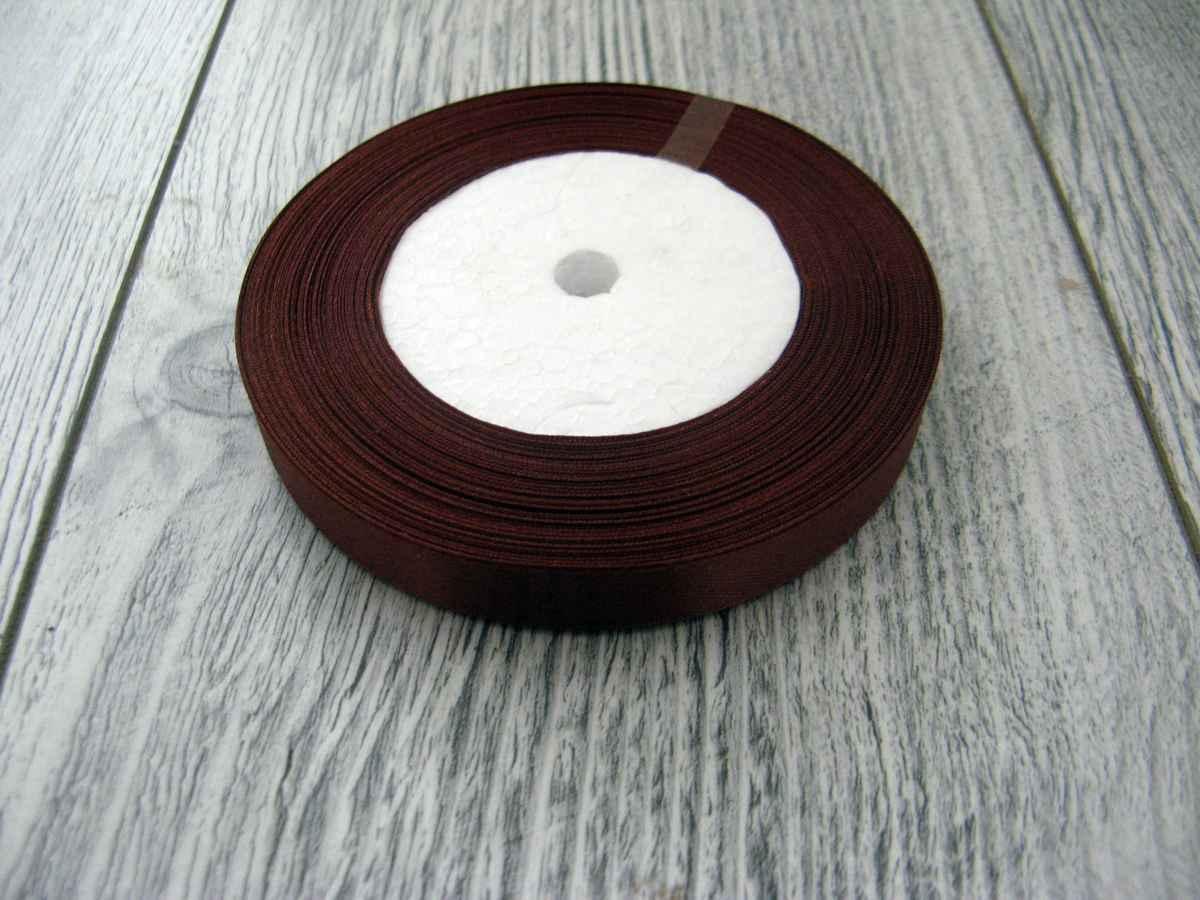 Saténová stužka hnedá - Brown 12,5mmx32m - Obrázok č. 1