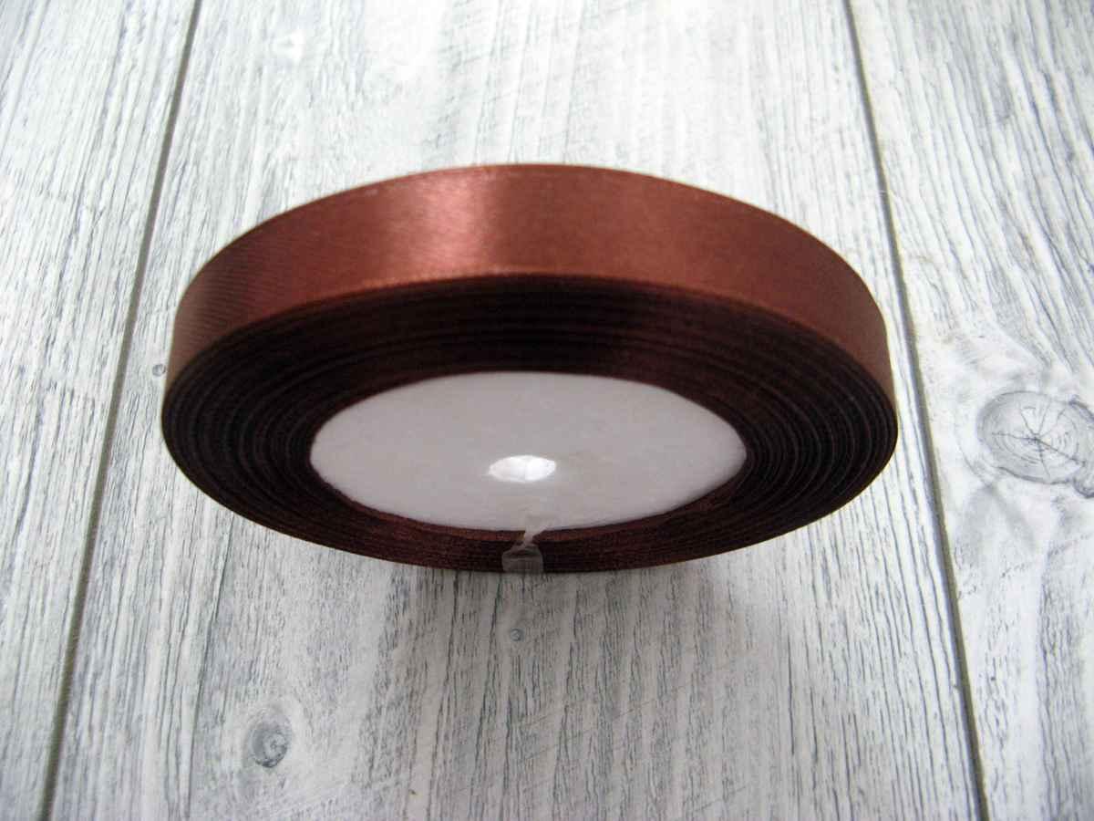 Saténová stužka hnedá - Brown 12,5mmx32m - Obrázok č. 2