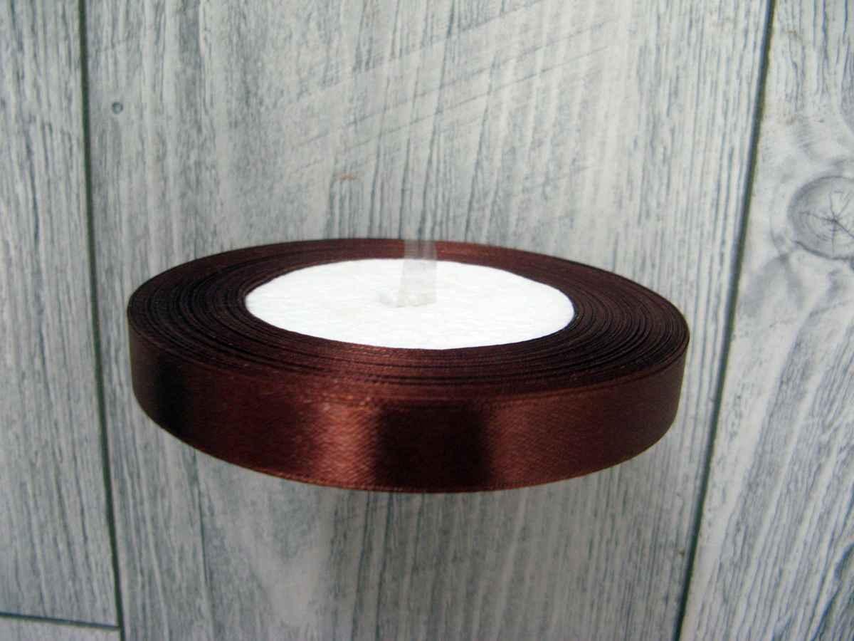 Saténová stužka hnedá - Brown 12,5mmx32m - Obrázok č. 3