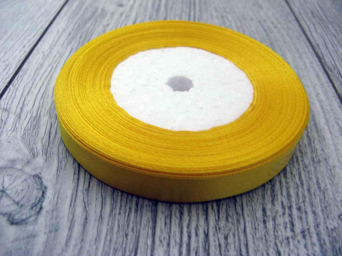 Saténová stužka žltá - Yellow 12,5mmx32m - Obrázok č. 1