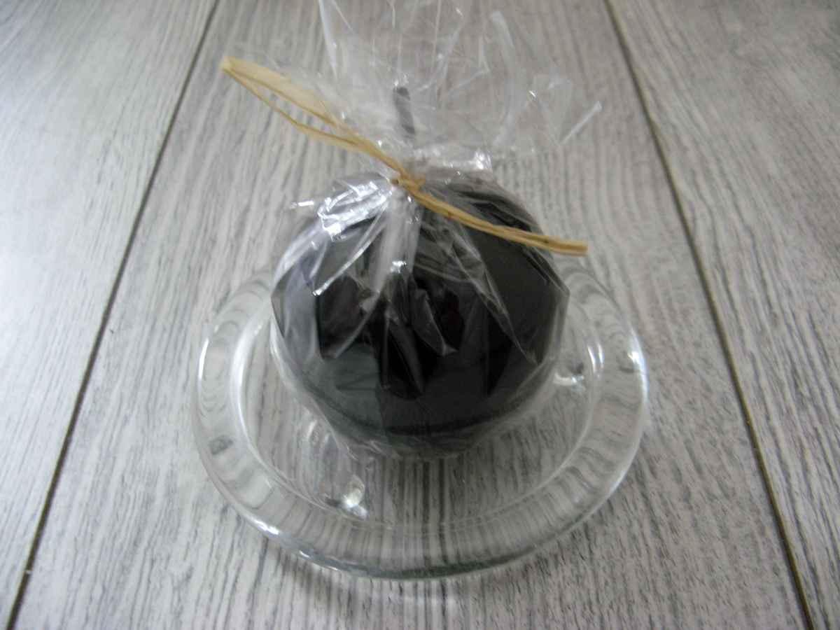Sviečka guľa 6cm čierna lakovaná - Obrázok č. 2