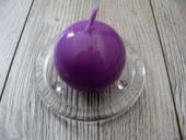 Sviečka guľa 6cm fialová lakovaná,