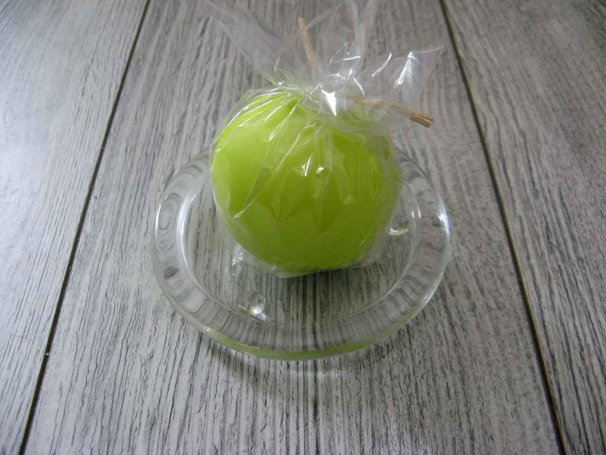 Sviečka guľa 6cm jabĺčková matná perleť - Obrázok č. 2