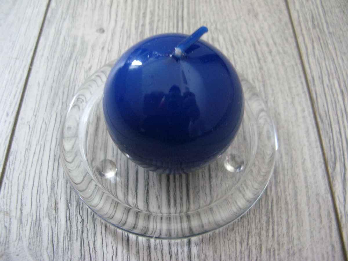 Sviečka guľa 6cm modrá lakovaná - Obrázok č. 1
