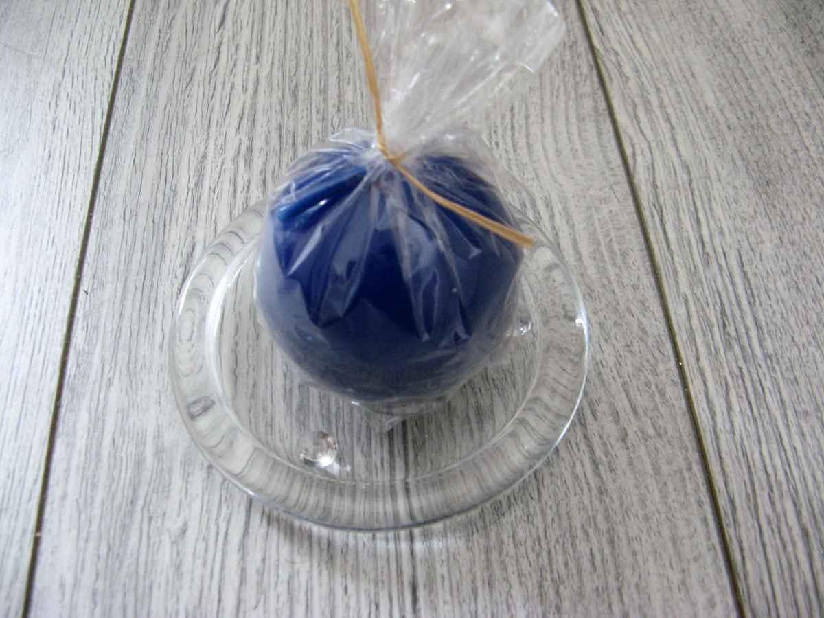 Sviečka guľa 6cm modrá lakovaná - Obrázok č. 2