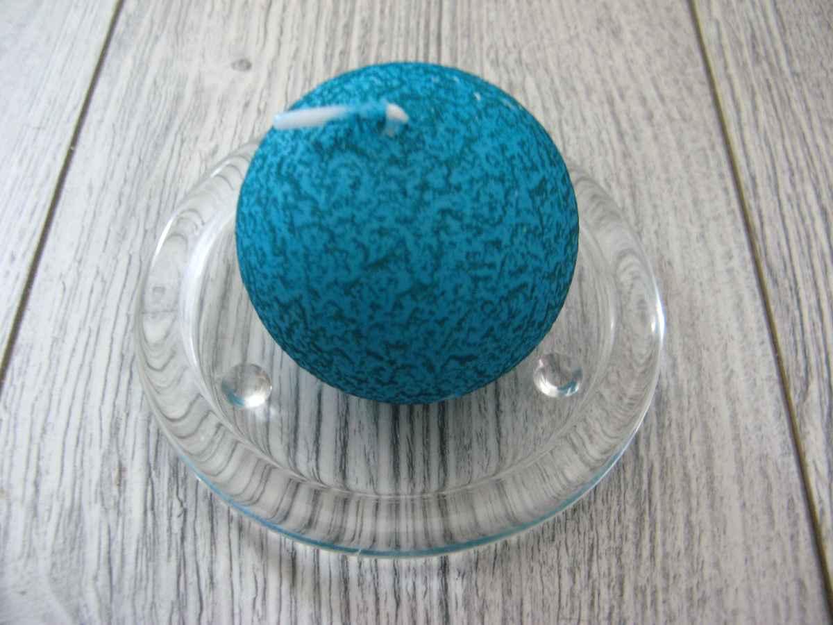 Sviečka guľa 6cm tyrkysová s efektom kôry - Obrázok č. 1