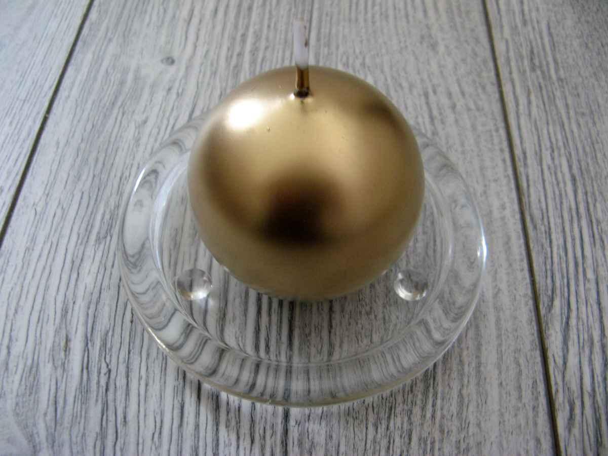 Sviečka guľa 6cm zlatá metalíza - Obrázok č. 1