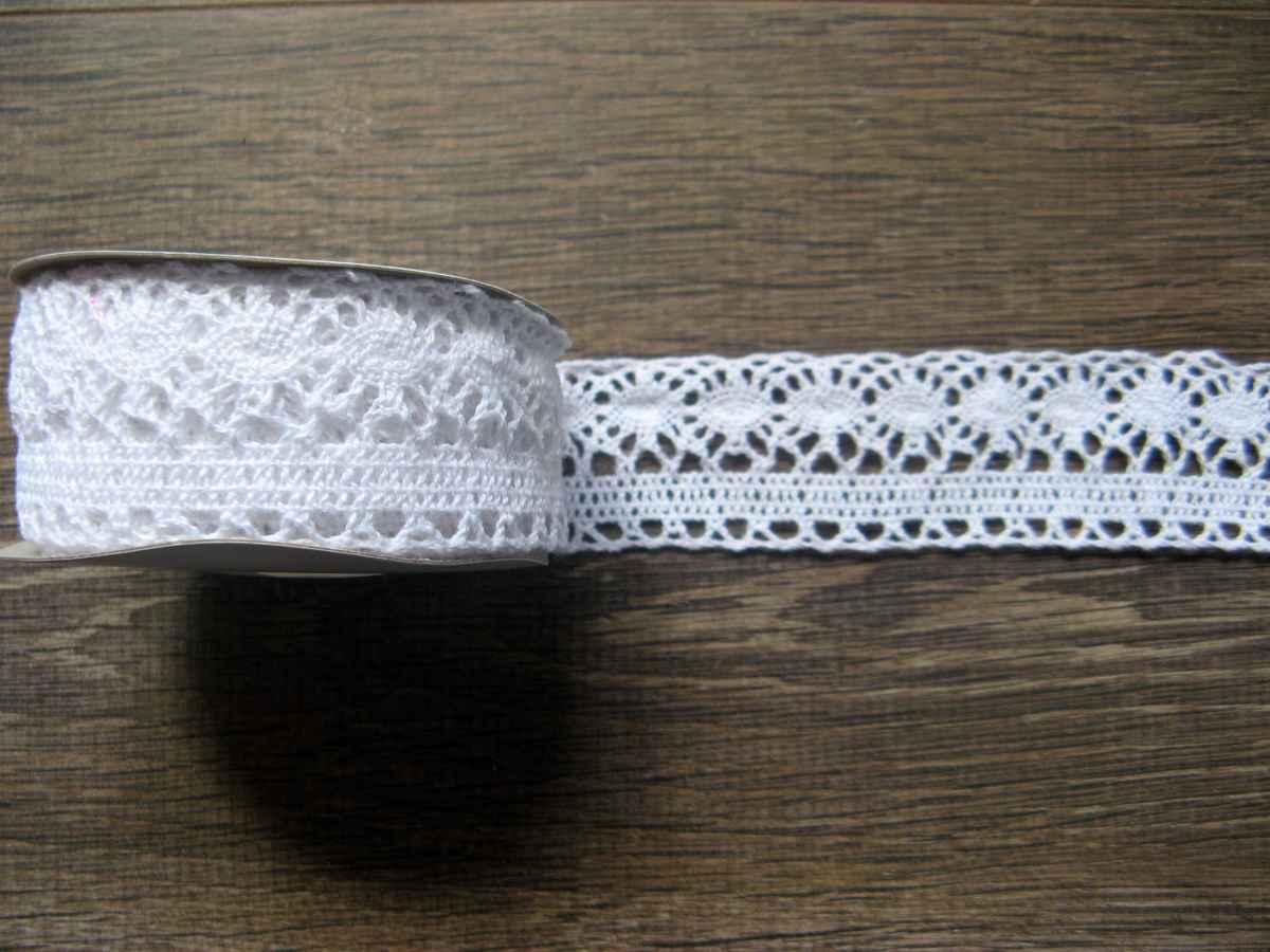 Bavlnená čipka biela 35mmx4,5m - Obrázok č. 1