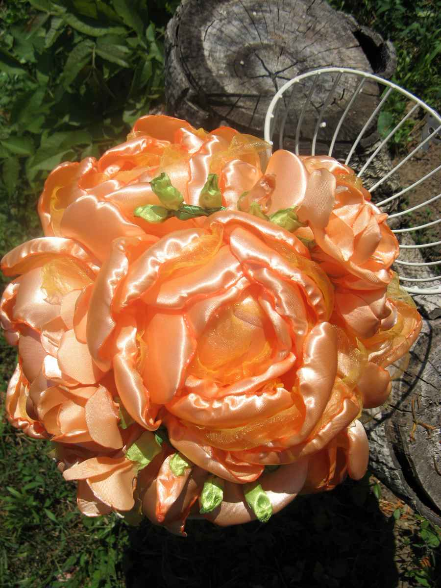 Látková kytica lososovej farby - Obrázok č. 1