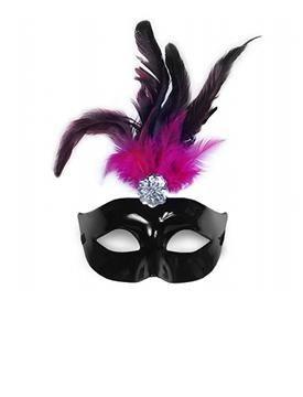 Maska čierna s perím - Obrázok č. 1