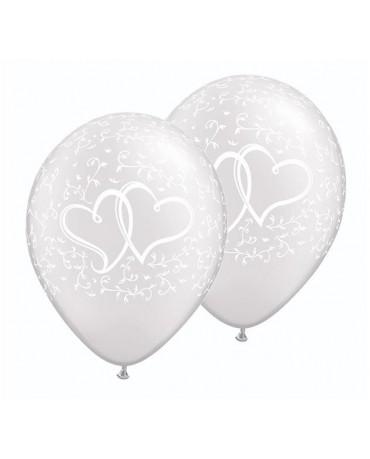 Latexový balón perleťový 28cm so srdiečkami - Obrázok č. 1