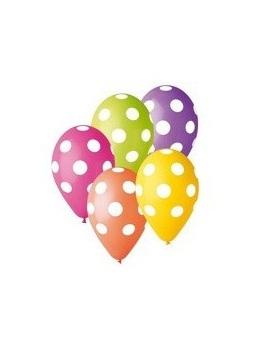 Latexové balóny mix farieb s bodkami 30cm 5ks - Obrázok č. 1