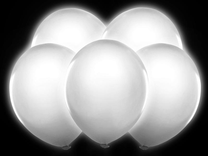 Latexové balóny svietiace led biele 30cm 5ks - Obrázok č. 1
