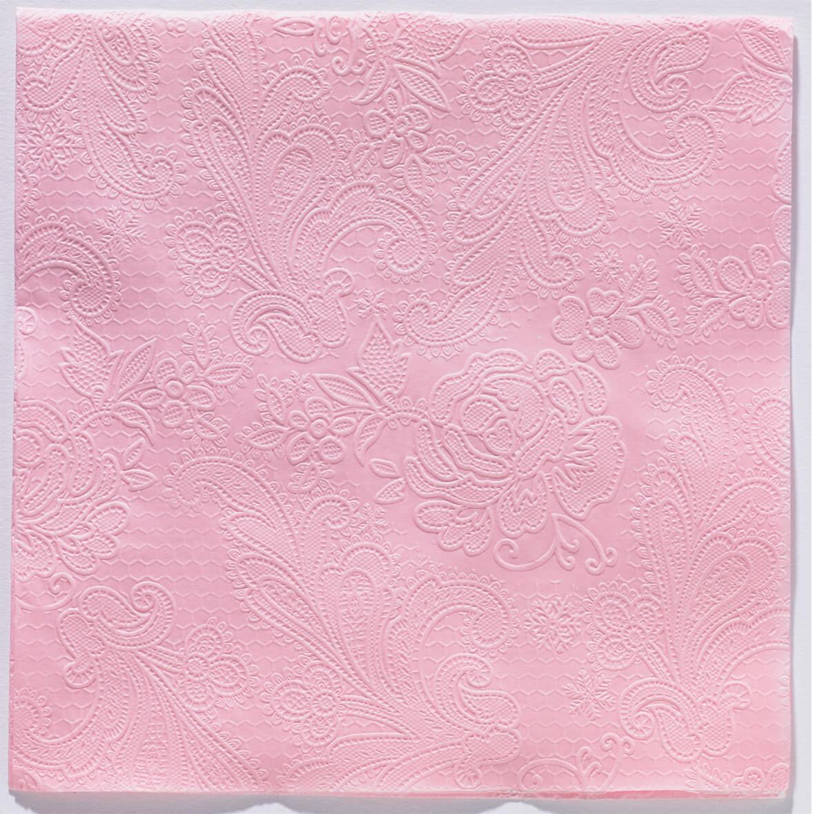 Reliéfne servítky s motívom čipky - ružová - Obrázok č. 1