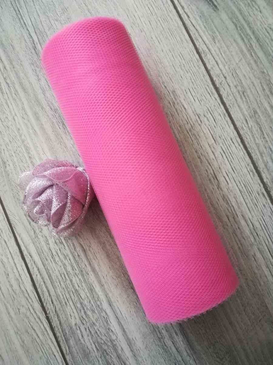 Tyl ružový l. 15cmx9m - predaj - Obrázok č. 1