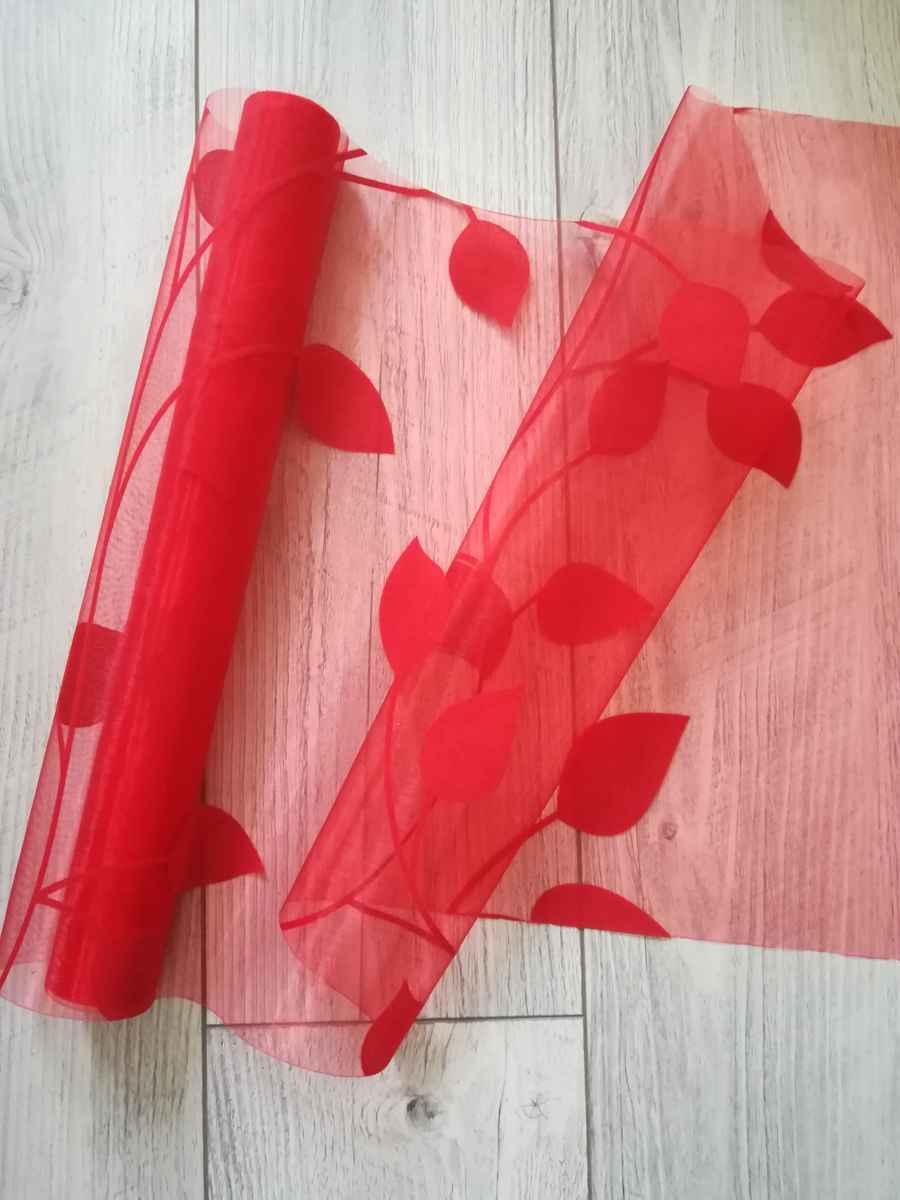 Organza s potlačou listy I. červená - predaj - Obrázok č. 1